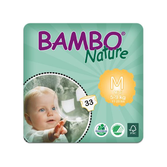 Bambo Nature Midi talla M es un pañal ecológico con 33 unidades por bolsa
