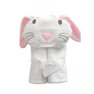 Toalla en 100% algodón color blanca con capucha de conejito a elegir con aplicaciones celestes o rosadas