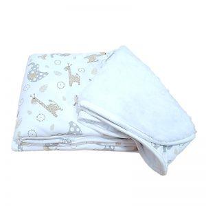 Manta animalitos Blauhouse con 100% algodón y reverso en peluche blanco